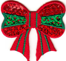 CHRISTMAS BOW SEQUINS Iron On Patch Christmas