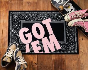 Black Paisley GOT'EM Doormat, Sneaker Rug, Hypebeast Doormat