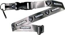 Oakland Raiders Football NFL Silver Lanyard Key Ring Keychain w/ Safety Clip