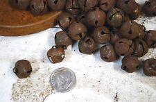 """36 Primitive Rusty Tin Jingle BELLS -- 13mm ---- 1/2"""" bells"""