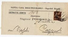1945 ITALY REGNO PM 50 CENTESIMI SOPRASTAMPATO SU ESTRATTO CONTO B/5366