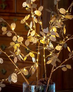 LED Gold Branch Lights Lunaria Silver Dollar Honesty Twig Lights Christmas Stems