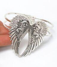Angel Wing Bracelet Heart Bangle Cuff Rhinestones Biker Angel Wings QUALITY USA