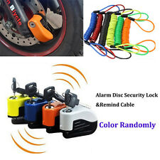Alarm Disc Security Lock + Remind Cable Motorcycle Dirt Road Bike Brake Rotor AC