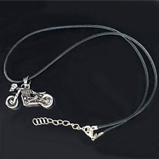 Gothic Punk Skeleton Motorcycle Stainless Steel Long Chain Pendant Necklace