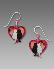 Sienna Sky BLACK and WHITE CATS in Pink HEART EARRINGS Sterling - Gift Boxed