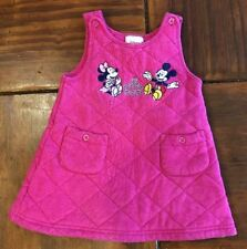 Disney Minnie and Mickey Mouse Dress /Jumper 18 months Pink Quilted