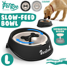 Pet Dog Slow Feed Bowl Food Feeder Tray Cat Interactive Healthy Anti-Skid Large