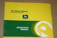 Jd John Deere 68 Riding Mower Operators Manual