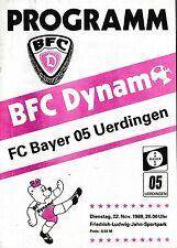 Football Programme>BFC DYNAMO v FC BAYER 05 UERDINGEN Nov 1988