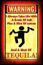 TAKE LIFE SHOT OF TEQUILA! METAL SIGN 8X12 BAR MAN CAVE BEER WHISKEY HAPPY HOUR