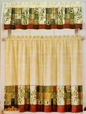 Tuscan Olives Window Tiers & Valance Green Tans Interiors by Design Polyester