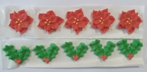 Holly and Poinsettia Sugar Pipings Edible Cake Decorations x 10