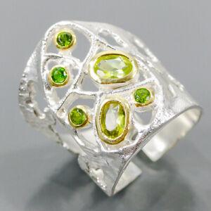 Jewelry Fashion Art Peridot Ring Silver 925 Sterling  Size 8 /R176532