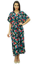Bimba Womens Long Maxi Kaftan Floral Printed Polyester Caftan With Smocked Waist