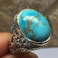 Art Deco Natural Blue Mohave Turquoise 925 Solid Sterling Silver Men's Ring 9