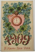 Happy  New Year Embossed Heart Clovers Pocket Watch Floral 1909 Postcard G15