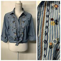 VTG Western Boho Floral Embroidered Striped Button Up Shirt Womens Medium Petite