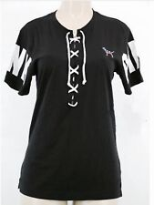 VICTORIA'S SECRET PINK TEE SHIRT CRISS CROSS TIE BLACK AND WHITE SIZE XSMALL
