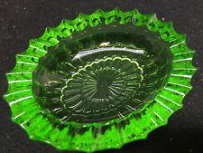 green Vaseline glass salt dip cellar soap dish bowl / candy uranium ashtray neon