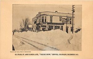 H72/ Denver Colorado Postcard c1910 Big Snow Post Office Pearl St  108