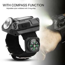 LED Wrist Watch Flashlight USB Rechargeable LED Wristlight Watch with Compass US
