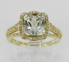 Yellow Gold Diamond and Green Amethyst Halo Engagement Ring Size 7 Cushion Cut
