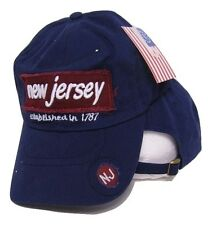 State of New Jersey Established in 1787 NJ Blue Embroidered Baseball Cap Hat