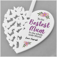 PERSONALISED Best Mum Hanging Heart Gifts for Birthday Mummy Mum Nanny Nanna