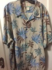Reyn Spooner Hawaiian Camp XXL Button Down 100% Silk Gray Blue 2XL