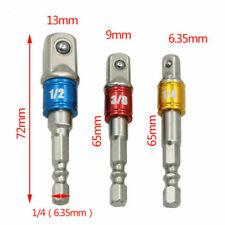 """3Pcs/Set Drill Socket Adapter To 1/4"""" 3/8"""" 1/2"""" Impact Hex Driver Blts Bit Tools"""