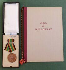 DDR Medaille + Urkunde - NVA Medaille für treue Dienste in Bronze - Oktober 1957