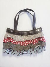 Thirty-One Brown Interchangeable Purse Handbag W/ Ruffled Skirt Blue Red Print