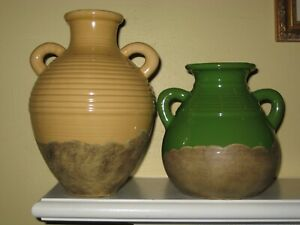 Southern Living at Home OLIVE JAR Tuscan Stoneware 2 Vases-Yellow Green