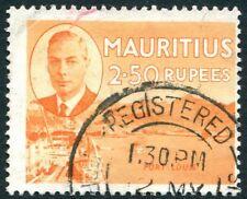 MAURITIUS-1950 2r.50 Orange Sg 288 GOOD USED V25668