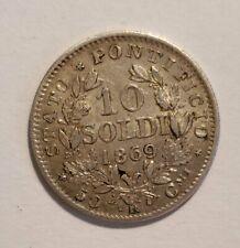 Papal States 1869 10 Soldi - Silver - Pius IV - XXIII - AU