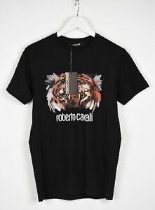 RRP €198 ROBERTO CAVALLI Men LARGE Graphic Tiger Logo Print Crew T-Shirt 13075