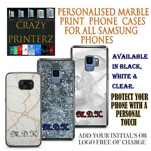 Personalised Custom Marble Printed Rubber / Hard Plastic Protection For Samsung