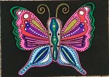 SEArts Butterfly ACEO ORIGINAL Colorful On Black Acrylic Mixed Media