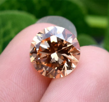 Champagne Sapphire 8mm 3.13ct Round Faceted Cut Shape AAAAA VVS Loose Gemstone