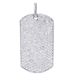 6.60 Ct Round Simulated Diamond Mens Dog Tag Pendant 14K White Gold Over Silver