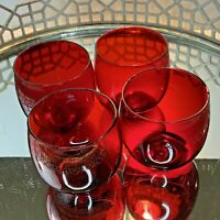 Rolle Polly Glasses Ruby Red Barware Vintage  Set of 4 Glass #N1