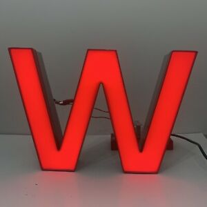 Vintage Exterior Sign Letter W Outdoor Signage Light Up Metal Red Commercial