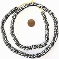 African Black & White Zen Elbow Recycled glass African trade beads-Ghana