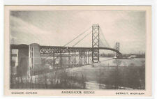 Ambassador Bridge Windsor Ontario Detroit Michigan postcard