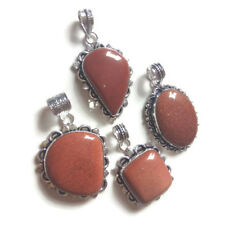Wholesale Lot !! 4 PCs. GOLDSTONE Gemstone 925 Silver Plated Necklace Pendant