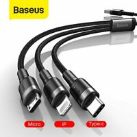 Baseus 3in1 Multi USB Charger Charging Cable Micro USB Type-C for iPhone Samsung