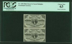 1864-69  3 CENTS FRACTIONAL CURRENCY FR-1226 UNCIRCULATED CERTIFIED PCGS NEW-63