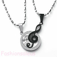 """Stainless Steel Matching Music Note """"I Love You"""" Pendant Couple's Necklace Set"""