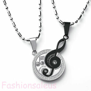 """2pcs Stainless Steel Music Symbol """"I Love You"""" Couple Matching Pendant Necklace"""